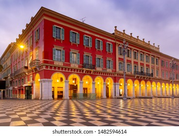 The famous Massena Square in the night lights at dawn. Nice. France. Cote d'Azur.