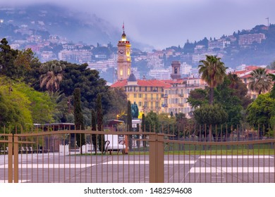 The famous Massena Square and promenade in the night lights at dawn. Nice. France. Cote d'Azur.