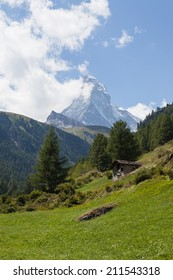 Famous Matterhorn in Switzerland with a cottage