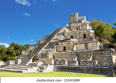 Famous Mayan city Edzna near by Campeche, Mexico