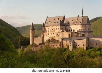 Famous medieval fortified Vianden castle in Luxembourg