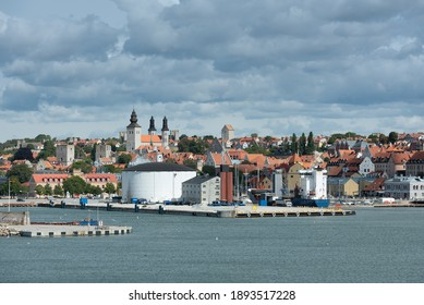 The famous medieval town of Visby on the Swedish island of Gotland looked out from the sea.