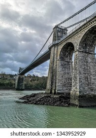 The famous Menai suspension bridge over the Menai Straights between Wales and Anglesey
