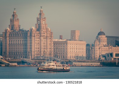 Famous Mersey Ferry in front of the Liver Building