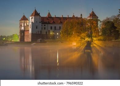 Famous Mir castle (Belarus) in moonlight