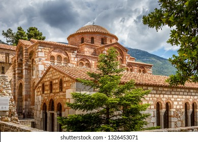 The famous monastery of Hosios Loukas, a historic walled monastery in Greece, part of the list of UNESCO's World Heritage Sites. It is a masterpiece of middle byzantine architecture and ar - Shutterstock ID 1326453071