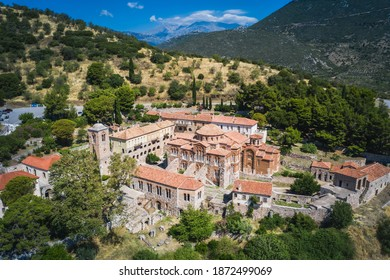 The famous monastery of Hosios Loukas, a historic walled monastery in Greece, part of the list of UNESCO's World Heritage Sites. It is a masterpiece of middle byzantine architecture and art. - Shutterstock ID 1872499069