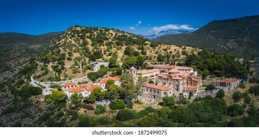 The famous monastery of Hosios Loukas, a historic walled monastery in Greece, part of the list of UNESCO's World Heritage Sites. It is a masterpiece of middle byzantine architecture and art. - Shutterstock ID 1872499075