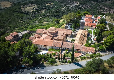The famous monastery of Hosios Loukas, a historic walled monastery in Greece, part of the list of UNESCO's World Heritage Sites. It is a masterpiece of middle byzantine architecture and art. - Shutterstock ID 1872499078