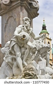 Famous monuments in Ljubljana - a Three Carniolan Rivers Fountain, decorated with allegorical figures of three rivers: Sava, Krka and Ljubljanica. Ljubljana, Slovenia, Europe