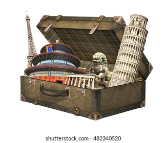 Famous monuments of world - Eiffel tower in Paris, Leaning Tower; Parthenon in Athens, Temple of Heaven in Beijing; lion statue in Forbidden Sity. In vintage suitcase. Isolated on white background.