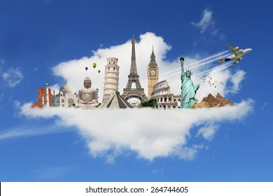 Famous monuments of the world grouped together on a cloud