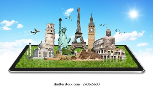 Famous monuments of the world grouped together on a digital tablet