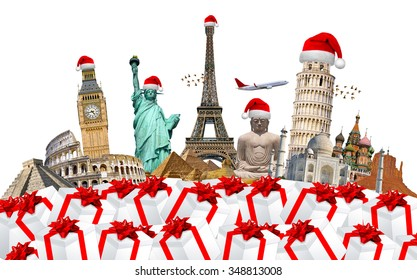 Famous monuments of the world grouped together celebrating christmas