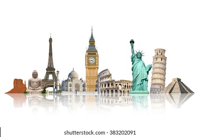 Famous monuments of the world grouped together on white background