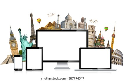 Famous monuments of the world grouped together behind tech devices on white background