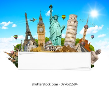 Famous monuments of the world grouped together with blank rolled paper