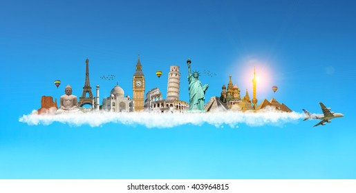 Famous monuments of the world grouped together on plane smoke in blue sky