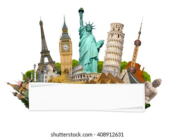 Famous monuments of the world grouped together with blank rolled paper on white background
