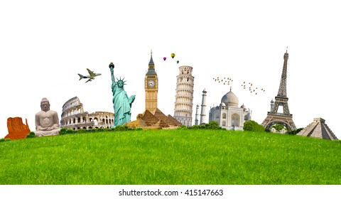Famous monuments of the world grouped together on green grass on white background