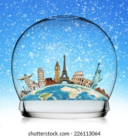 Famous monuments of the world in a snowball
