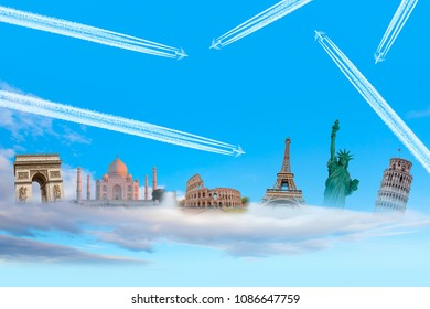 Famous monuments of the world with Trail of white smoke from the airplane on blue sky - Travel the world concept (colosseum, eiffel tower, pisa tower, Taj mahal, Arch of Triumph, Statue of Liberty)