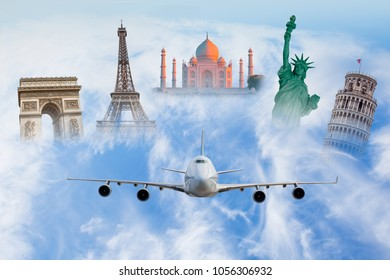 Famous monuments of the world - Travel the world concept (colosseum, eiffel tower, pisa tower, Taj mahal, Arch of Triumph, Statue of Liberty)