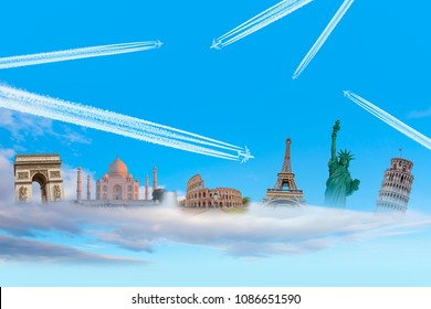 Famous monuments of the worldwith Trail of white smoke from the airplane on blue sky - Travel the world concept (colosseum, eiffel tower, pisa tower, Taj mahal, Arch of Triumph, Statue of Liberty)