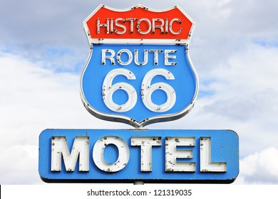 famous motel sign on Route 66 USA