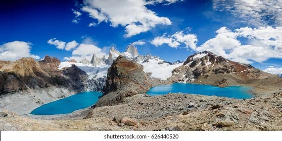 Famous Mount Fitz Roy panorama - symbol of Patagonia, El Chalten, Los Glaciares National Park, Argentina