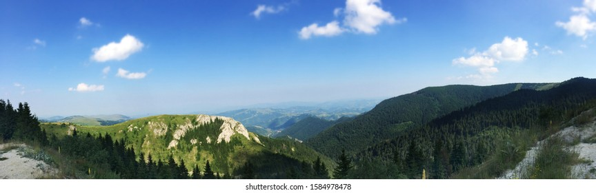 Famous mount Kopaonik in central Serbia - panorama view from the top over surrounding landscape