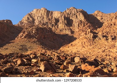Famous Mount Sinai (Mount Horeb, Gabal Musa). Winter morning view. Sacred christian place in Egypt, pilgrimage place and famous touristic destination. Sinai Peninsula of Egypt.