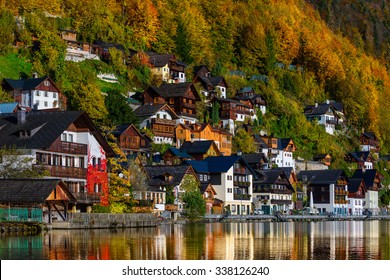 Famous mountain village and alpine lake, Austrian Alps