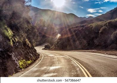Famous Mulholland Highway in Malibu, California