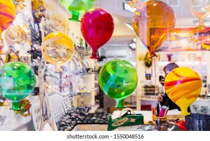 Famous Murano Glass. Tradional Murano glass figures in store. MURANO ISLAND, VENICE, ITALY.