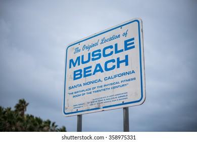 The famous Muscle Beach in Santa Monica, California.