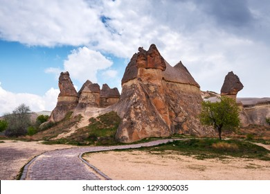 Famous mushroom valley in Cappadocia, Turkey. Landscape photography