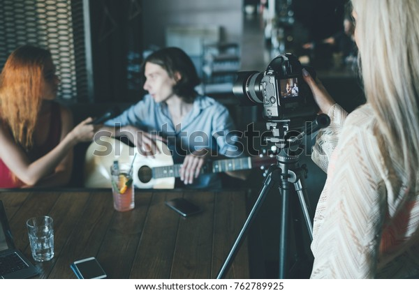 famous musician gives interview to post in his blog. Social networking communication vlog concept