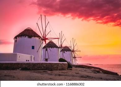 Famous Mykonos windmills in  sunset, Mykonos island, Sunset Sky, Mykonos Cyclades, Greece