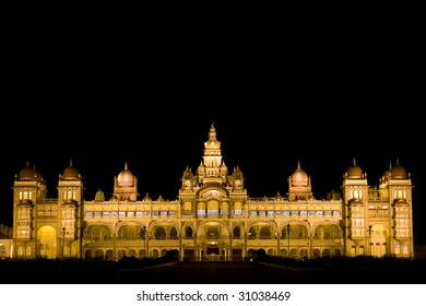 famous mysore palace lit in the night