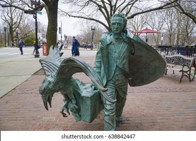 Famous Mystery Author Edgar Allan Poe in the Boston - copper statue - BOSTON / MASSACHUSETTS - APRIL 3, 2017