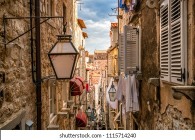 Famous narrow alley of Dubrovnik old town in Croatia - Prominent travel destination of Croatia. Dubrovnik old town was listed as UNESCO World Heritage Sites in 1979.