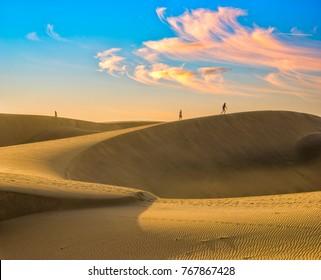 Famous natural park Maspalomas dunes in Gran Canaria at sunrise, Canary island, Spain
