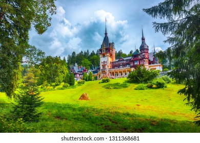 Famous Neo-Renaissance Peles castle and ornamental garden in Sinaia Carpathian Mountains in Europe. Sinaia, Prahova County, Romania