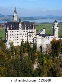 Famous Neuschwanstein castle in autumn on a clear sunny day, Bavaria Germany