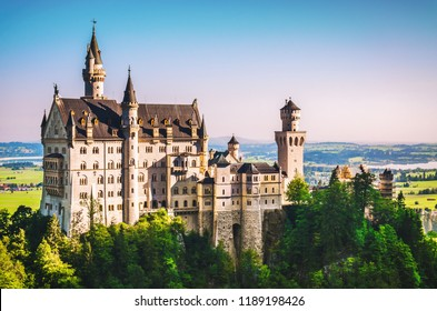 Famous Neuschwanstein castle in the morning at summertime. Germany, Bavaria