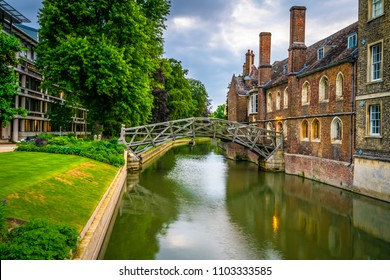 Famous Newton's mathematical bridge in Cambridge, England