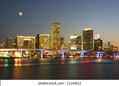 Famous Night Scene - Downtown Miami Florida