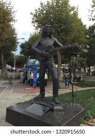 "Famous Northumbria male singer ""Baris Akarsu"" statue in Amasra...(09 2015-Amasra, Turkey)"