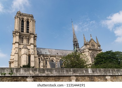 Famous Notre Dame Cathedral in Paris France as seen from the Seine River.